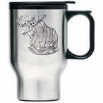 Moose Stainless Steel Travel Mug with Handle and Pewter Accent