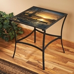 Morning Glow Scenic Metal Accent Table with Glass Top
