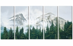 Morning Mist Mountains Wrapped Canvas Giclee Wall Art Print, Set of 5