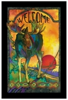 Morning Moose Stained Glass Welcome Wall Art