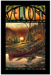 Morning Solitude Camping Scene Stained Glass Welcome Wall Art