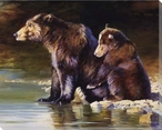 Mother Love Bear and Her Cub Wrapped Canvas Giclee Print