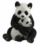Mother Panda Hugging Cub Sculpture
