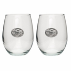 Motorcycle Pewter Accent Stemless Wine Glass Goblets, Set of 2