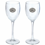 Motorcycle Pewter Accent Wine Glass Goblets, Set of 2
