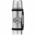 Motorcycle Stainless Steel Thermos with Pewter Accent