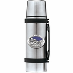 Mount Rushmore South Dakota Blue Stainless Steel Thermos with Pewter
