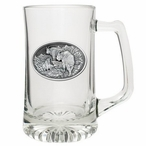 Mountain Goat Glass Super Beer Mug with Pewter Accent