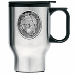 Mountain Lion Stainless Steel Travel Mug with Handle and Pewter Accent