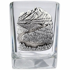 Mountain Scene Pewter Accent Shot Glasses, Set of 4