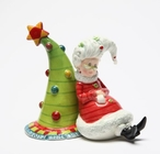 Mrs. Claus with Christmas Tree Salt and Pepper Shakers, Set of 4