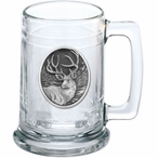 Mule Deer Glass Beer Mug with Pewter Accent