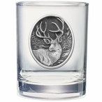Mule Deer Pewter Accent Double Old Fashion Glasses, Set of 2
