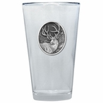 Mule Deer Pint Beer Glasses with Pewter Accent, Set of 2