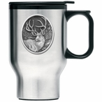 Mule Deer Stainless Steel Travel Mug with Handle and Pewter Accent