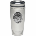 Mule Deer Stainless Steel Travel Mug with Pewter Accent