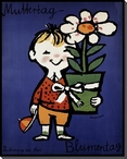 Muttertag Child with Flowerpot Wrapped Canvas Giclee Print Wall Art