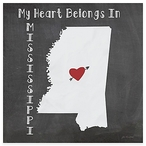 My Heart Belongs In Mississippi Absorbent Beverage Coasters, Set of 8