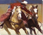Nabbed Cowboy and Horses Wrapped Canvas Giclee Print Wall Art