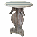 Nantucket Seahorse Wood Accent Table