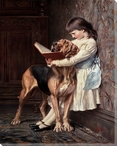 Naughty Boy Girl Reading to Her Dog Wrapped Canvas Giclee Print