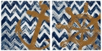 Nautical Chevrons Absorbent Beverage Coasters, Set of 8