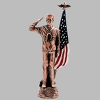 Antique Bronze Navy Soldier with Painted American Flag Statue