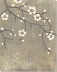 Neutral Cherry Blossom Flowers I Wrapped Canvas Giclee Print
