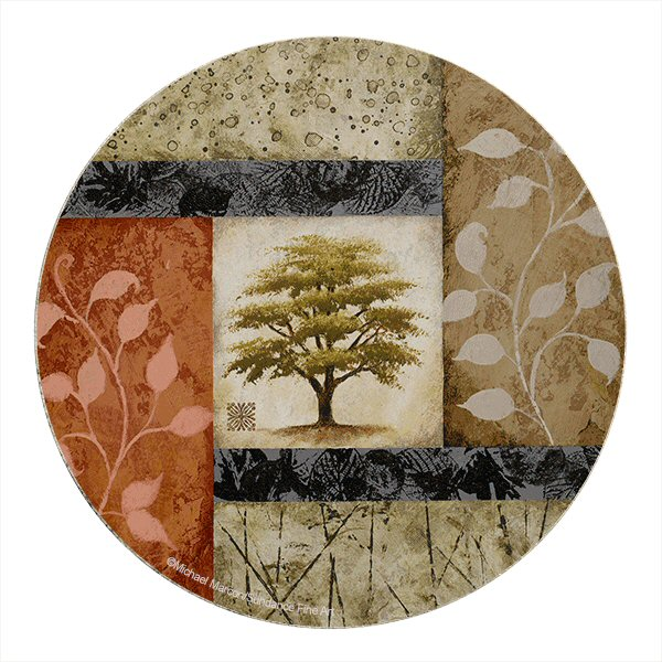 New growth tree sandstone round coasters by michael marconi set of 8 drink coasters - Sandstone drink coasters ...
