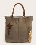 Newsprint Patch Stonewashed Canvas and Soft Leather Tote Bag