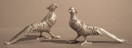 Nickel Brass Pheasants Sculpture, Set of 4