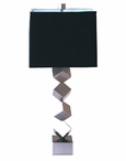 Nickel Stacked Cube Iron Table Lamp with Shade