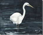Night Fishing Egret Bird Wrapped Canvas Giclee Art Print Wall Art