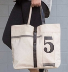 No. 5 Canvas and Leather Tote Bag