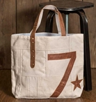 No. 7 Canvas and Leather Tote Bag