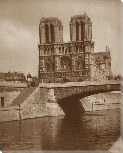 Notre dame cathedral riverview wrapped canvas giclee print for Notre dame home decor