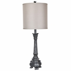 Noura Resin Table Lamp with Linen Shade