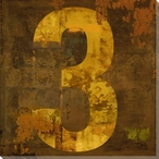 Number Key 3 Wrapped Canvas Giclee Print Wall Art