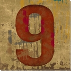 Number Key 9 Wrapped Canvas Giclee Print Wall Art