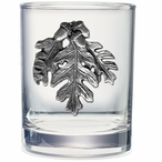Oak Leaf Pewter Accent Double Old Fashion Glasses, Set of 2