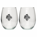 Oak Leaf Pewter Accent Stemless Wine Glass Goblets, Set of 2