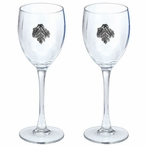 Oak Leaf Pewter Accent Wine Glass Goblets, Set of 2