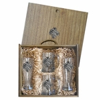 Oak Leaf Pilsner Glasses & Beer Mugs Box Set with Pewter Accents
