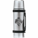 Oak Leaf Stainless Steel Thermos with Pewter Accent