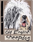 Old English Sheepdog Wrapped Canvas Giclee Print Wall Art