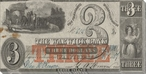 Old Three Dollar Bill Wrapped Canvas Giclee Print Wall Art