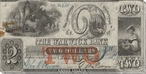 Old Two Dollar Bill Wrapped Canvas Giclee Print Wall Art
