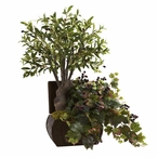 Olive Tree & Grape Leaf Silk Plant with Chest