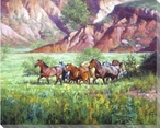 On the Canyon Floor Horses Wrapped Canvas Giclee Print Wall Art