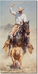 On the Chase Cowboy Roping Wrapped Canvas Giclee Print Wall Art